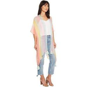 NWT Cejon Rainbow Pastel Long Kimono